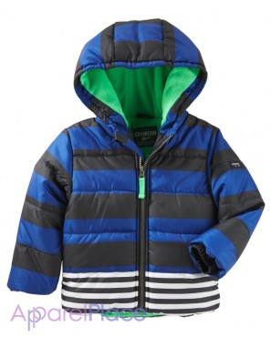 упить 1 - OshKosh  уртка в полоску Hooded Bubble Jacket